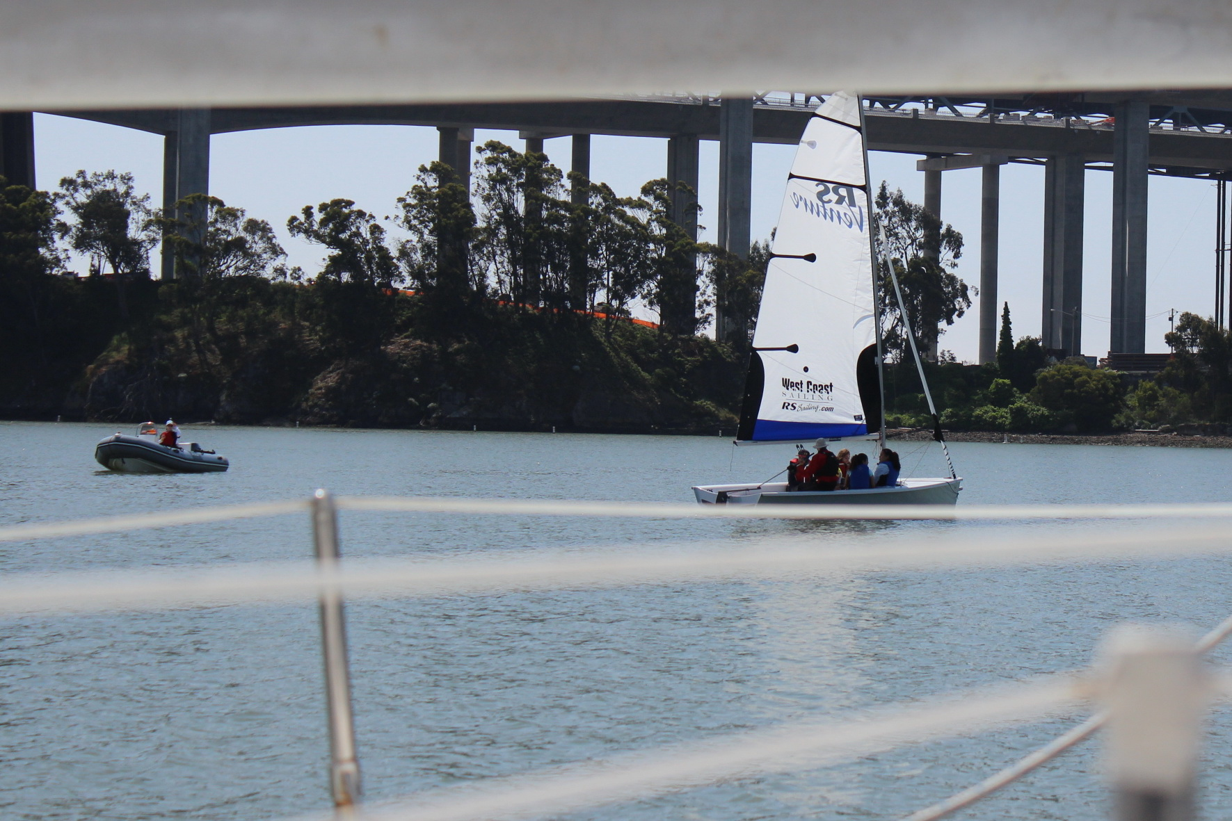 Safety Boat and RS Venture Framed by new bridge