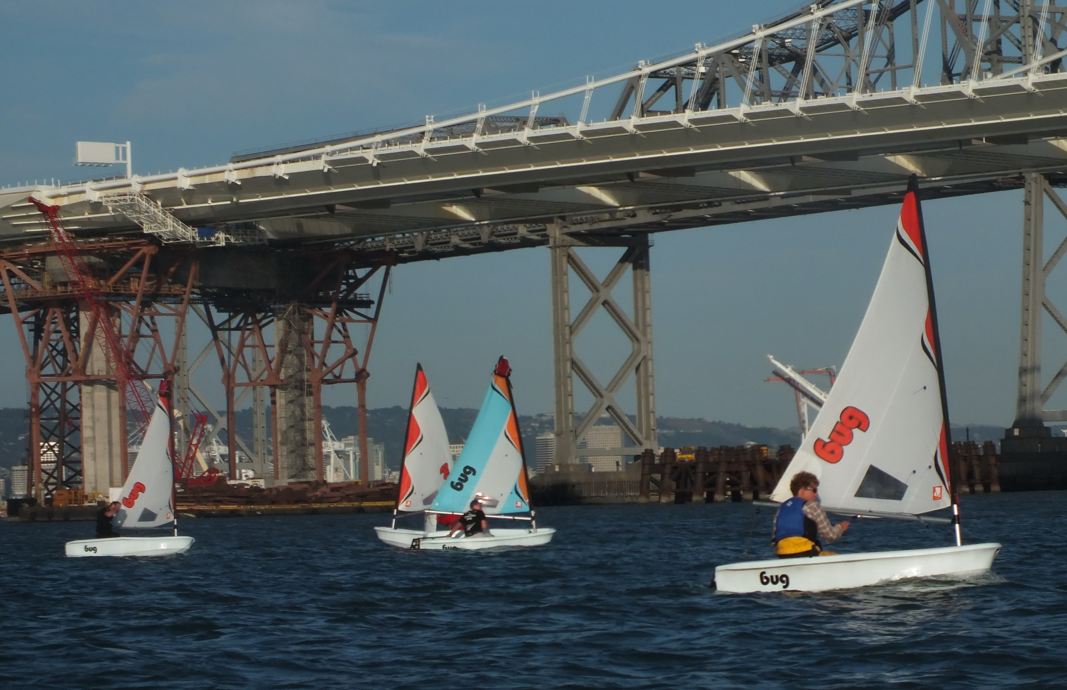 Racing Framed by new Bay Bridge