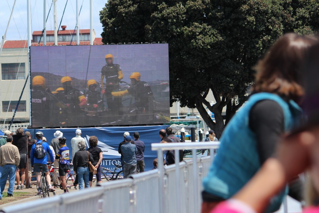 Jumbo screens bring AC excitement to the Marina Green bleachers