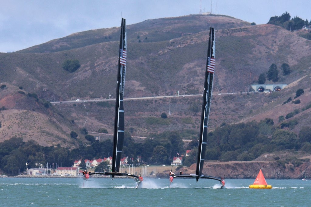 "Marina Green provides great ""head on"" view of Oracle team practicing their starts"