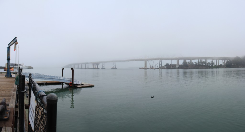 fog and bay bridge frame Clipper Cove