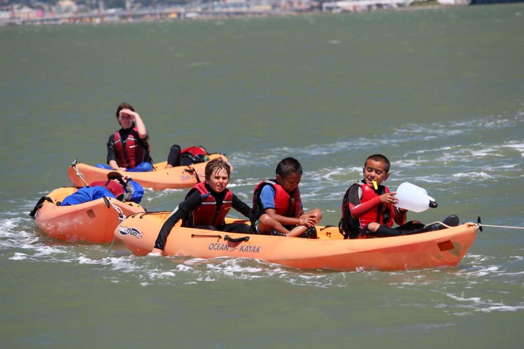 6 kids on 3 kayaks