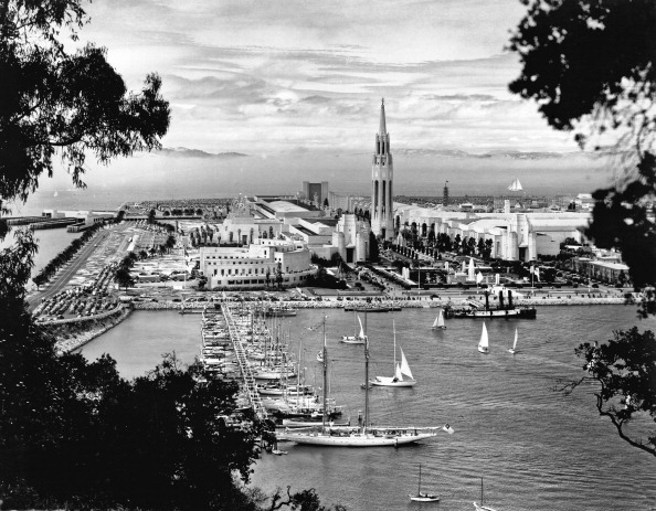 View taken from the San Francisco-Oakland Bay Bridge of Treasure Island during the 1939 Golden Gate International Exposition, San Francisco, California, 1939. (Photo by Underwood Archives/Getty Images)