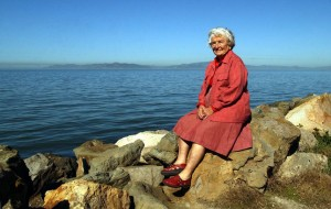 Sylvia McLaughlin is one of three East Bay women who co-founded the Save San Francisico Bay movement in the 1960s, to stop the Bay from being filled to create more land. On Wednesday, Aug. 30, 2005, McLaughlin enjoys the Bay views from Cesar Chavez Park. (Joanna Jhanda/Contra Costa Times)
